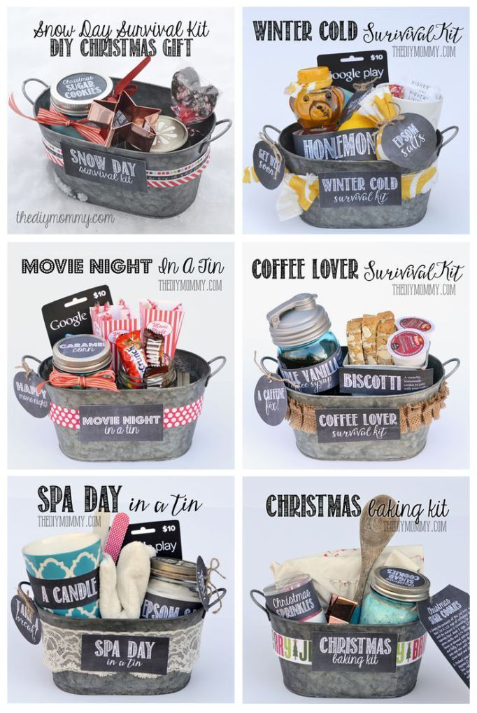 Gifts In A Tin ~ Some wonderful ideas! All 6 gift basket ideas come with free ta...