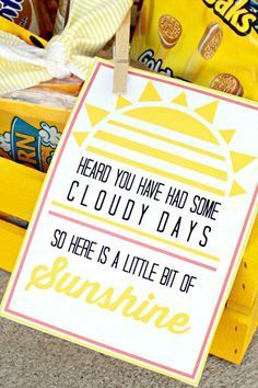 Basket of Sunshine and free printable gift tag. A fun gift idea for a neighbor o...