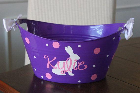 Personalized easter basket - plastic, vinyl, easter basket, storage bin, easter ...