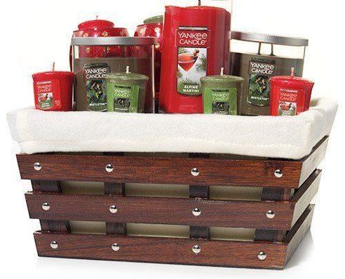 Basket Gifts : Yankee Candle Large Wooden Slat Basket Gift ...