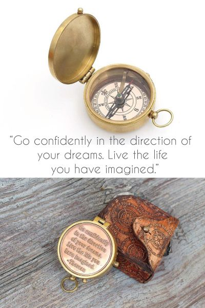 "College graduation gifts - Inspirational Quote Compass ""Go confidently in the ..."