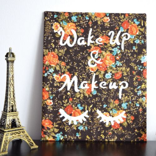 Wake Up and Makeup Handpainted Art. Dorm room decor for girls. Wall decoration. ...