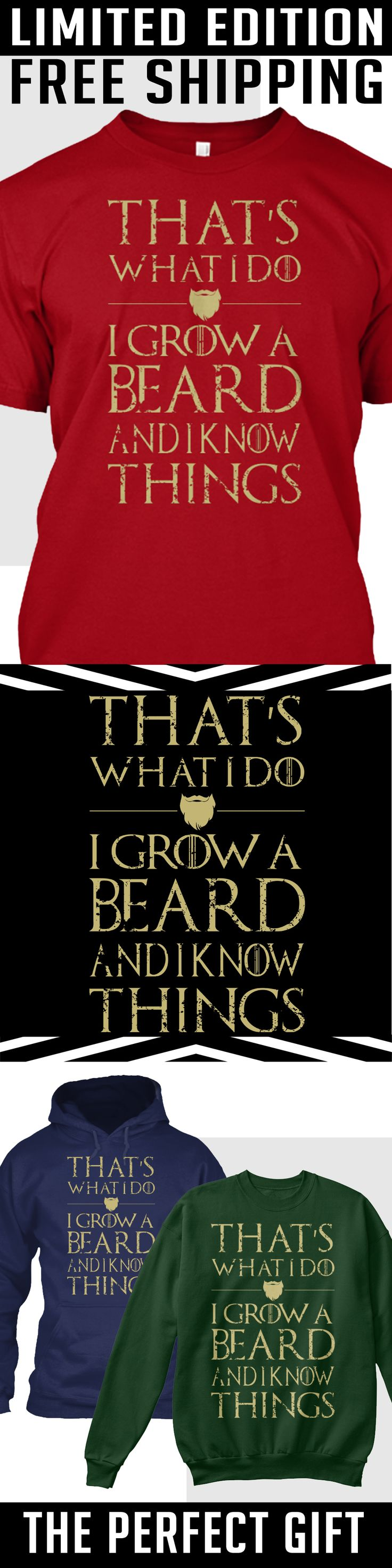 Grow Beard Know Things - Limited Edition. Only 2 days left for free shipping, ge...