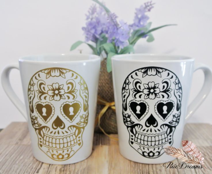 His and Hers - Sugar Skull Coffee Mugs - 14oz Ceramic Coffee Mug - Couples Gift ...
