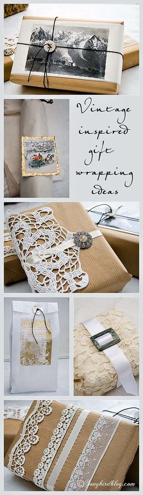 6 Ideas for a vintage style Christmas gift wrap. These gift wrapping ideas make ...