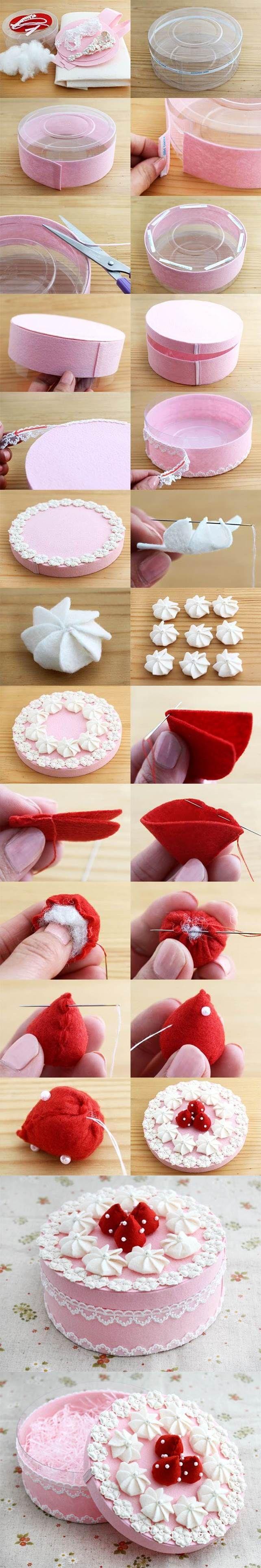 DIY Beautiful Gift Box Decorated Like a Cake | iCreativeIdeas.com Like Us on Fac...