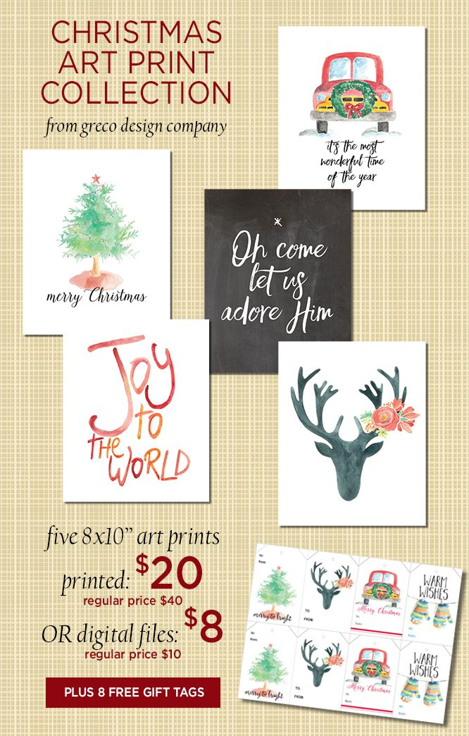 Etsy shop discounts and Christmas art print collection