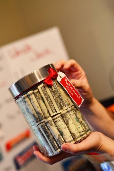 Gift Wrapping Ideas Fifty One Dollars Bills Rolled Up And Stacked Inside A Clear Jar See More 50th