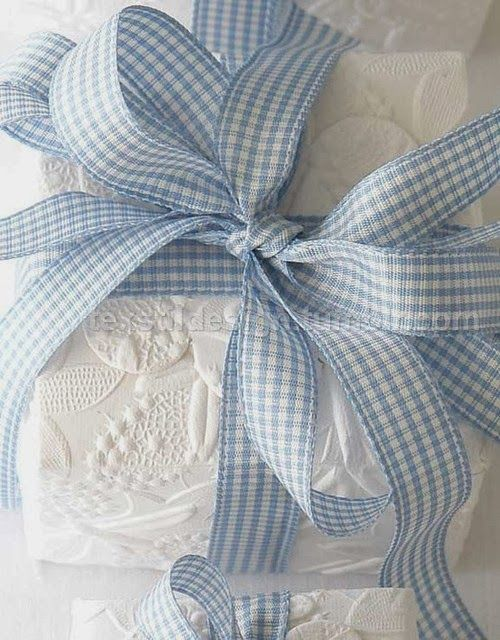 Textured fabric and gingham bow
