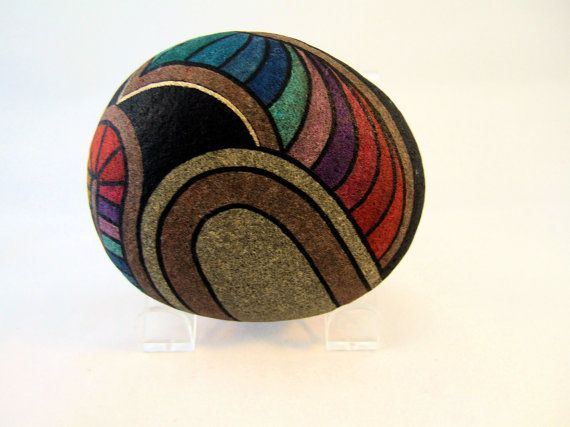 Main peint Rock signé numéroté collectionner objet par IshiGallery, $450.00