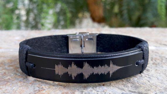 Customized Soundwave Leather Bracelet by SnowyOwlsNest on Etsy #etsyhandmade #so...