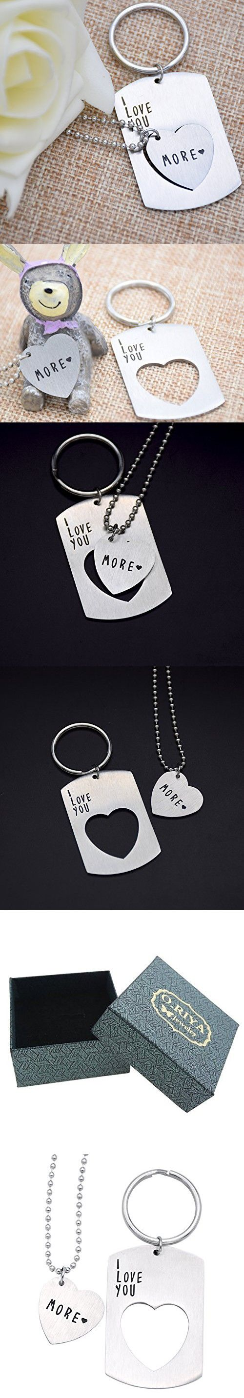 O.RIYA I love you more Keychain Necklace Stainless Steel - Anniversary Gifts For...