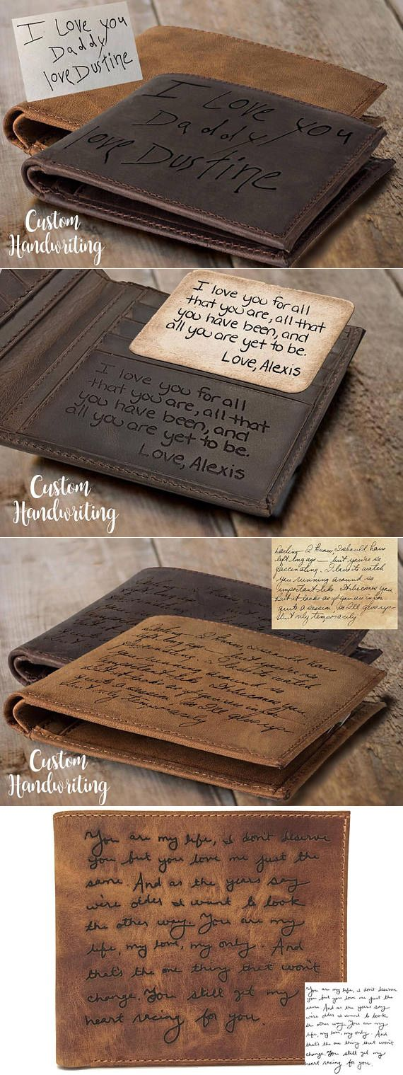 Personalized Leather Wallet Gift for Him with Custom Handwriting!!! This would b...