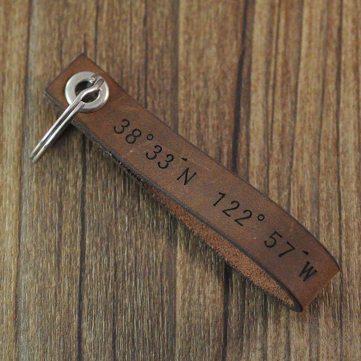 Wholesale personalized coordinates keychain,custom leather keychain,personalized...