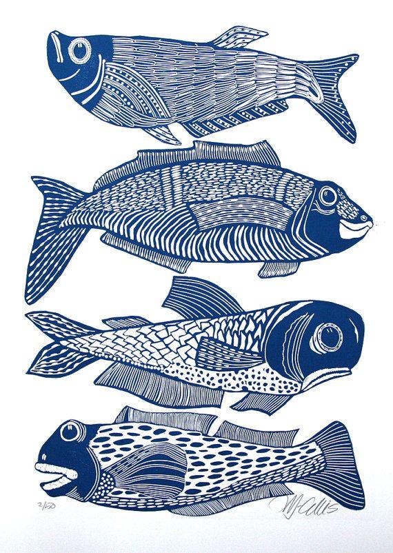 linogravure, quatre poissons, poisson, bleu et blanc, cadeau pour lui, pêche, m...
