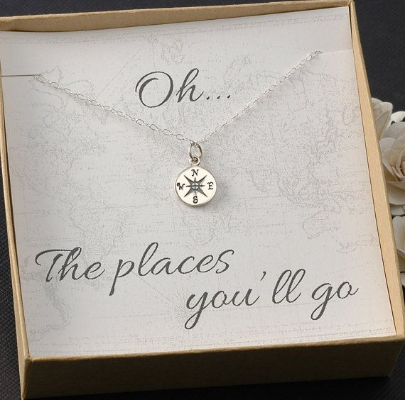 Compass Necklace - Graduation Card, 2014 Graduation Gift, New Job - Silver or Go...