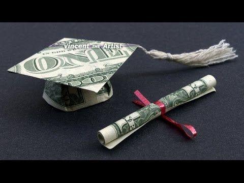 DIY How to Fold $2 Money Origami Graduation Cap & Diploma - Dollar Origami - Gra...
