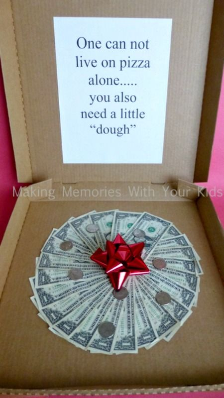 Money Gift Idea ~ Can't Live on Pizza Alone... A perfect gift for graduation, ...