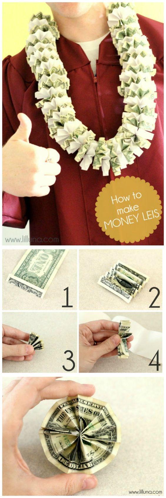 Super easy way to make Money Leis- the perfect graduation present! { lilluna.com...