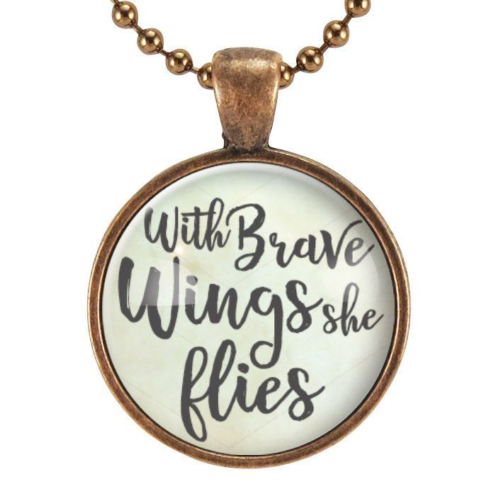With Brave Wings She Flies Inspirational Quote Necklace, Gifts For Daughter, Gra...