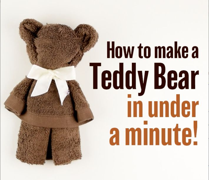 An easy way to make a teddy bear out of a towel. Fun and creative activity to tr...