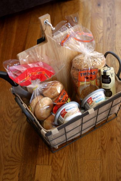 Bagel Gift Basket - Great idea to give someone who is hosting a sleepover party ...