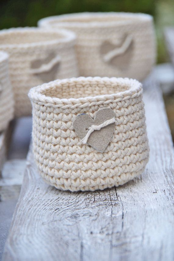 Crochet Rustic  Basket, Crochet  Basket leather hert, Cotton natural, Alternativ...