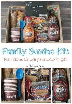 DIY Family Sundae Kit idea! Perfect for neighbor gift, outdoor get togethers, fa...