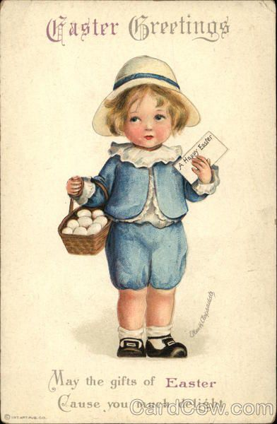 Easter Greetings with Child holding Egg Basket,  Ellen Clapsaddle