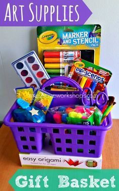 Easy and FUN Art Supplies DIY Gift Basket Caddy via Time2Save - Do it Yourself G...