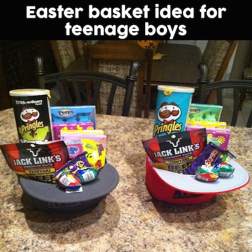 Great idea for older boys who no longer want to carry around Easter baskets! Fil...
