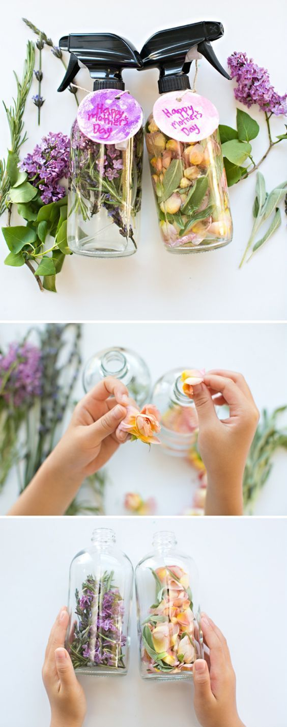 Kid-Made DIY Floral and Herb Perfume. Great idea for Mother's Day! Also a fu...