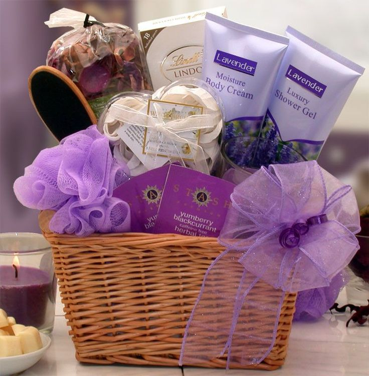 Lavender Relaxation Spa Gift Basket Flowering French lavender will surround her ...
