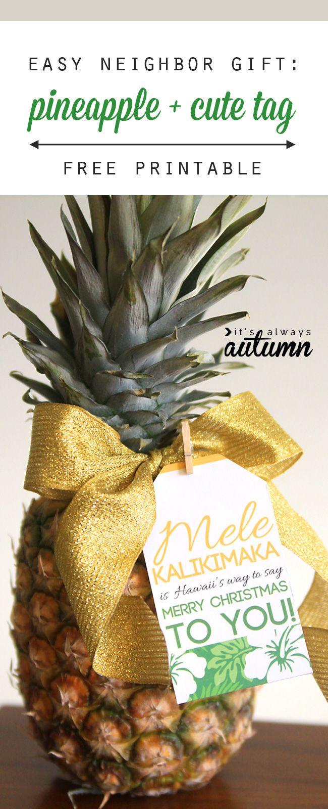 easy neighbor gift idea: pineapple + cute tag