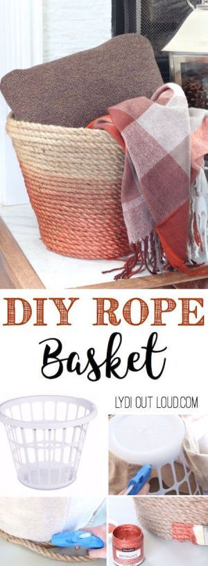 Make a beautiful DIY Metallic Ombre Basket is made out of a dollar store laundry...