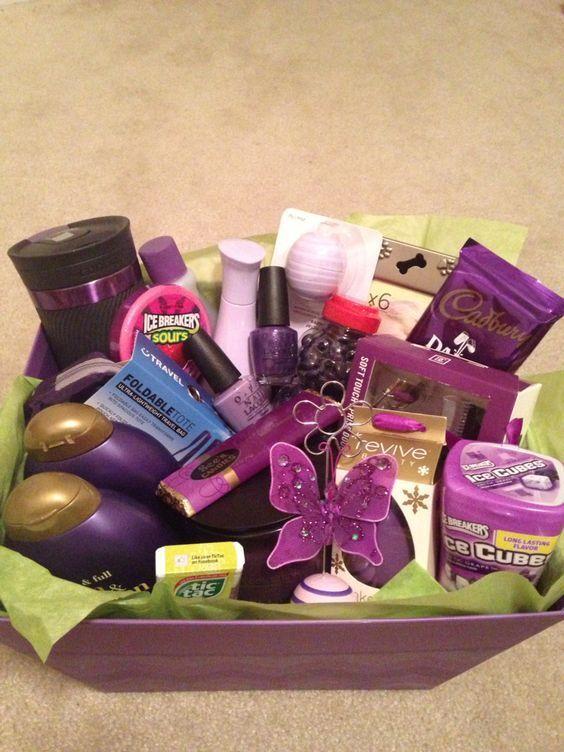 Basket Gifts Purple Themed Diy Christmas Baskets For