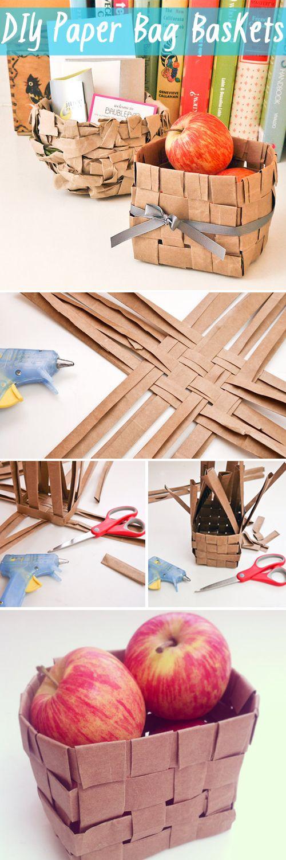 So cute! DIY paper bag baskets.