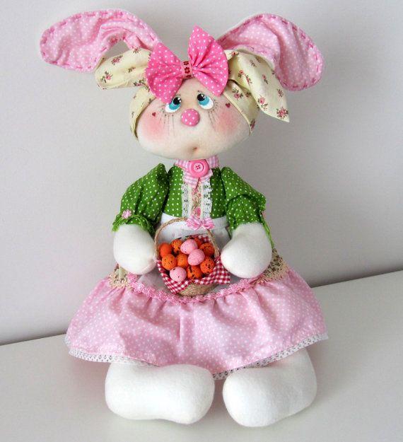 Stuffed rabbit doll 18 inch Easter bunny by NICEDOLLSANDRABBITS