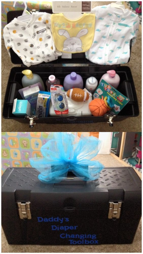 Basket Gifts Tool Box For Daddy Diy Baby Shower Gift Basket