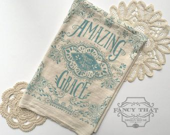 Amazing Grace How Sweet the Sound. Hymn Natural Cotton Flour Sack Tea Towel. Hym...