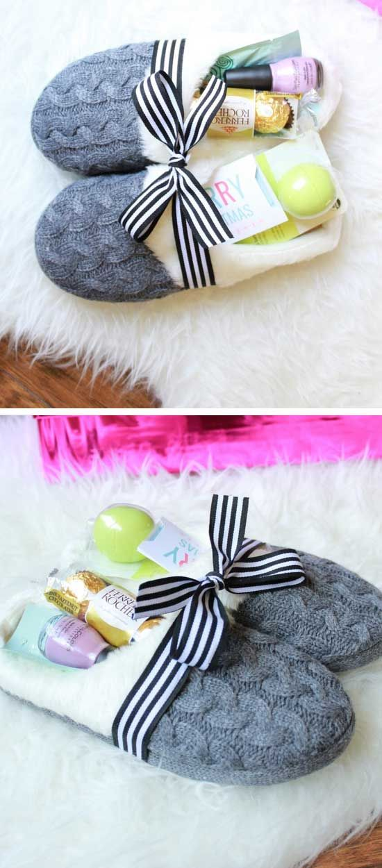 Making Christmas Gift Ideas.Corporate Gifts Ideas Cozy Slippers Gift Basket Diy