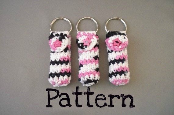 Crochet Pattern - Keychain Lip Balm Holder.  Perfect for clipping to your little...