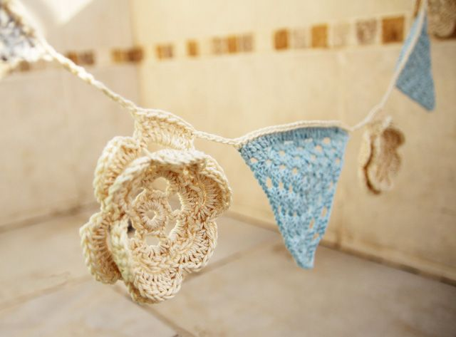 Crocheted Granny Triangle Bunting With Flowers