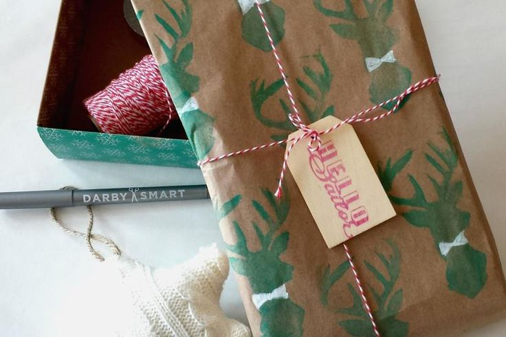 DIY Deer Silhouette Hand Stamped Wrapping Paper - Darby Smart