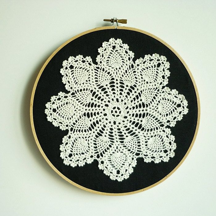 Doily Embroidery Hoop Art - Snowflake at Night