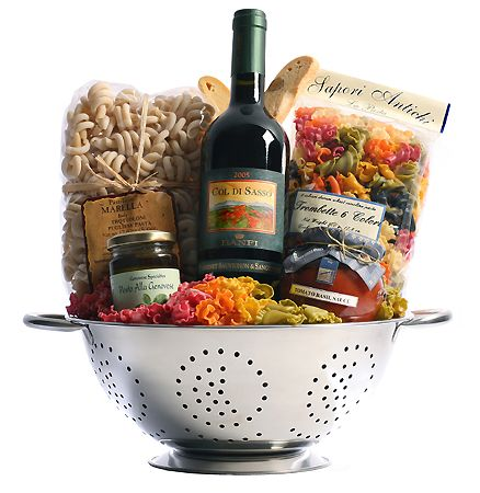 Great Gift Basket idea: Italian wine, colander, unique pasta, tomato sauce, pest...