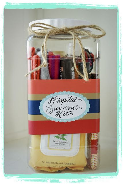 Great idea for a baby shower gift--a hospital survival kit! Fill it with special...