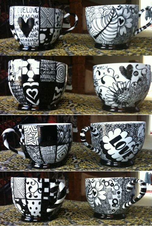 Sharpie Mug - draw on a mug with a sharpie marker, bake for 30 minutes in a 425F...