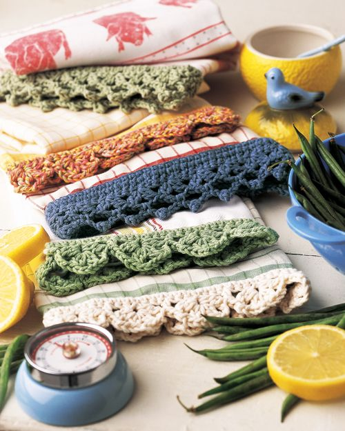 Spruce up kitchen towels ~  free pattern