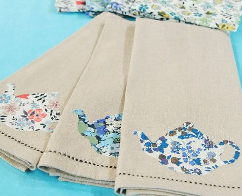 Gift Wrapping Ideas: Teapot Applique Tea Towels - Martha ...